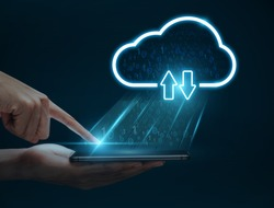 Cloud computing concept, Man hand using smartphone connect to cloud for transfer data.