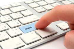 Cloud computing concept - modernized computer keyboard with cloud keypad