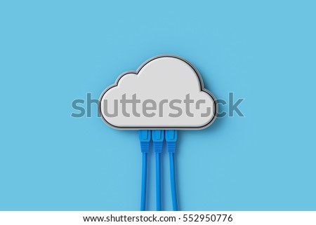 Cloud Computing Concept Or Symbol Connect With Network Cable On Blue