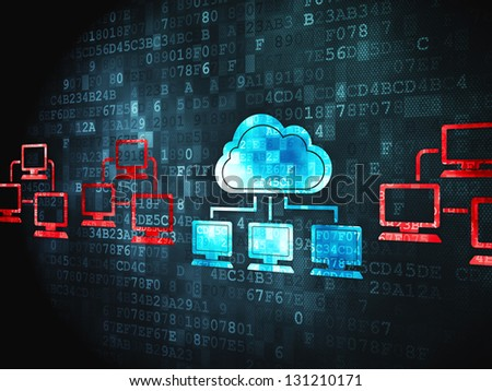 Cloud computing concept: pixelated Cloud Technology icon on digital background, 3d render