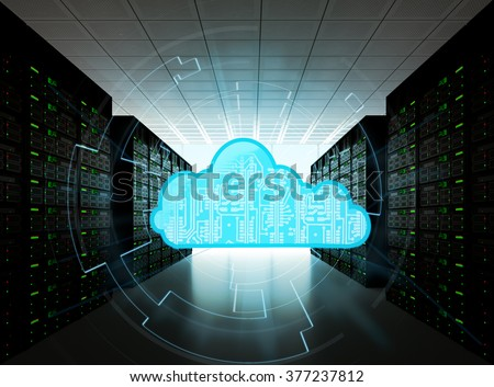 Cloud computing concept represented by a server room, with a cloud representation hologram concept.