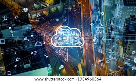 Cloud computing concept. System integration. Communication network.
