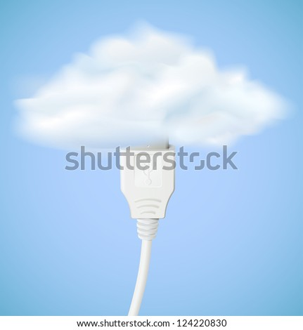 Cloud computing concept. Usb cable is connected to the cloud. Raster version