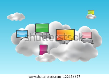 Cloud computing concept with desktops, notebooks, netbooks and smartphones on the clouds