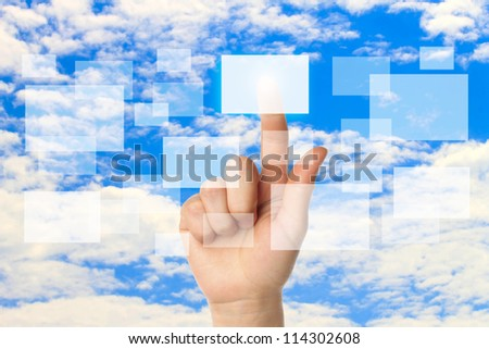 Cloud computing concept with woman hand