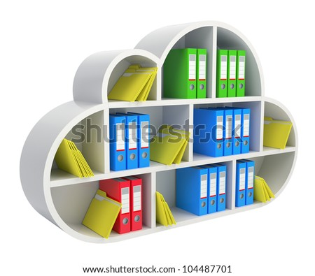 Cloud computing concept with wooden shelf, folders and binders