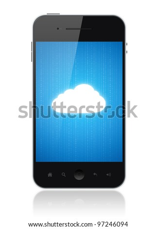 Cloud-computing connection on the mobile smart phone. Conceptual image. Isolated on white.
