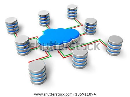 Cloud computing, database network, web hosting and internet business telecommunication concept: group of metal hard disk drive HDD icons connected to blue cloud icon isolated on white background