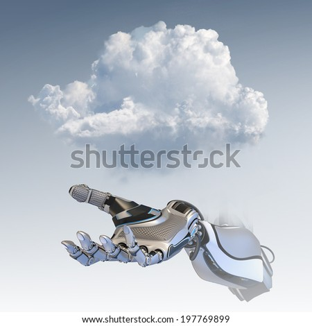 Cloud computing design concept. Cybernetic robot arm holding smartphone with copy space