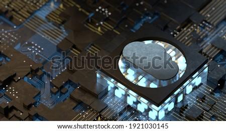 Cloud Computing Digital Information Data Center Technology. Computer Information Storage. Cybersecurity 3d Illustration