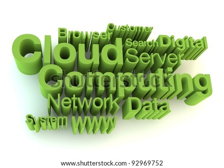 Cloud computing green letters