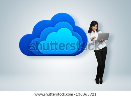 Cloud computing idea concept. Business woman stands by the cloud computing icon.