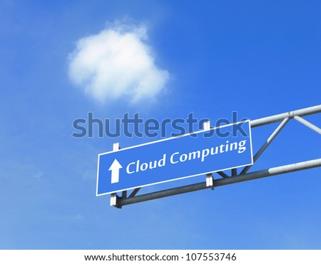 Cloud computing in road Traffic sign with blue sky and white cloud, concept for Cloud computing technology