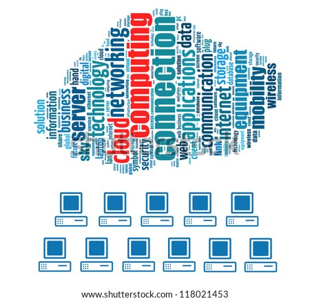 Cloud Computing info-text graphics and arrangement concept on white background