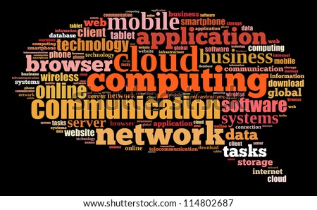 Cloud computing info-text graphics composed in bubble talk sign shape concept (word clouds)
