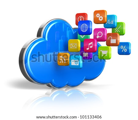 Cloud computing internet concept: blue glossy cloud with cloud of colorful application icons isolated on white background with reflection effect