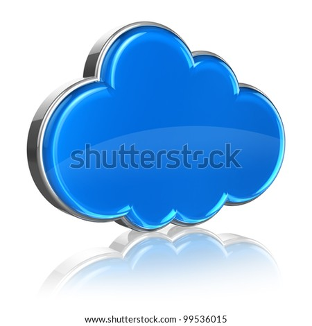 Cloud computing internet concept: glossy blue cloud icon isolated on white background with reflection effect