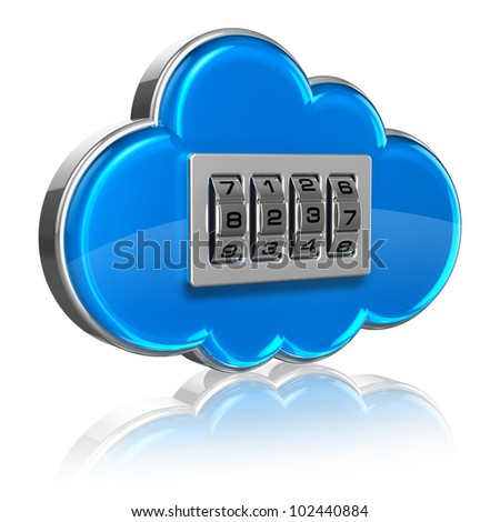 Cloud computing internet security concept: blue glossy cloud icon with combination lock isolated on white background with reflection effect