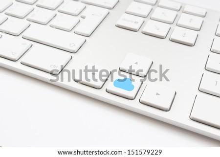 Cloud computing key on a white keyboard - stock photo