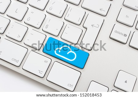 Cloud computing key on a white keyboard