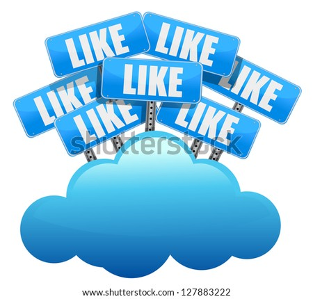cloud computing like Social media networking concept illustration design over white