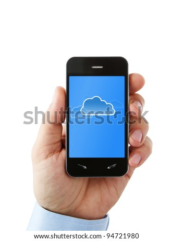 Cloud computing on mobile, smart phone with clipping path for the screen