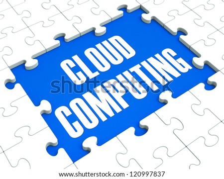 Cloud Computing Puzzle Shows Online Services And Business Solutions