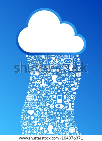 Cloud computing social media network concept background.