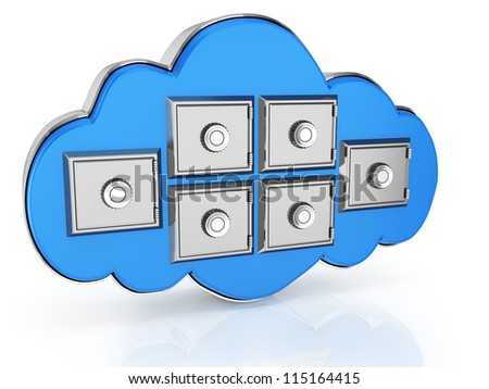cloud computing storage isolated on white background. 3d render