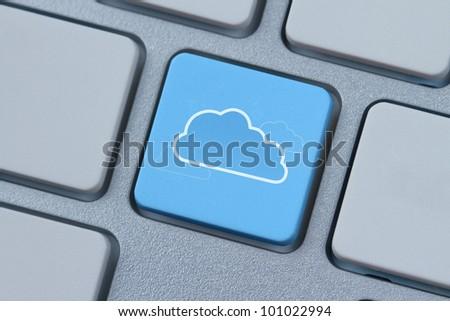 Cloud computing symbol at the computer key