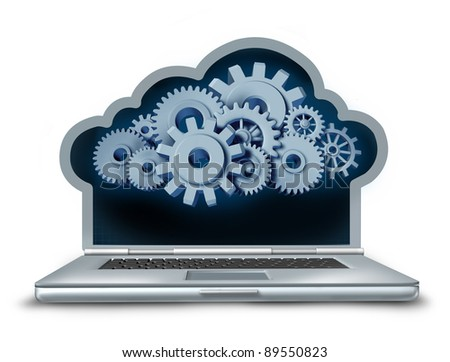 Cloud computing symbol represented by a laptop computer in the shape of a cloud providing streaming digital content from a remote server to the computing device made of gears and cogs.