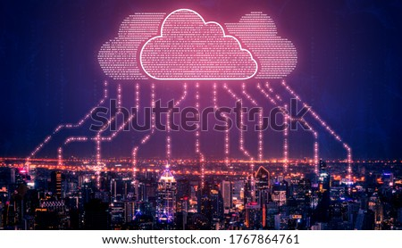Cloud computing technology and online data storage for business network concept. Computer connects to internet server service for cloud data transfer presented in 3D futuristic graphic interface. Stock photo ©