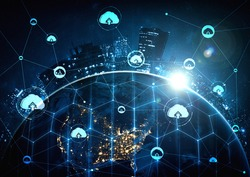 Cloud computing technology and online data storage in innovative perception . Cloud server data storage for global business network concept. Internet server service connection for cloud data transfer.