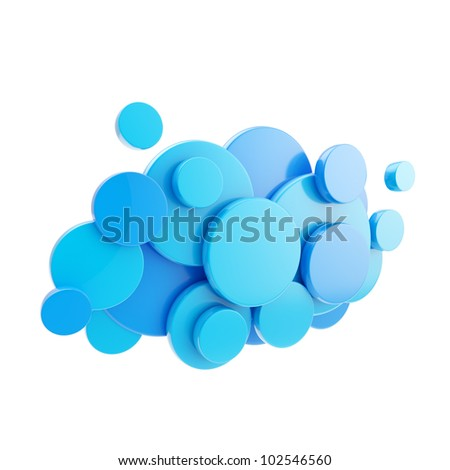 Cloud computing technology blue glossy icon symbol isolated on white