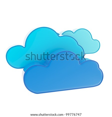 Cloud computing technology blue icon isolated on white