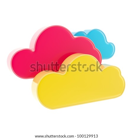 Cloud computing technology colorful icon isolated on white