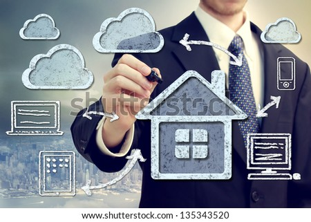 Cloud computing, technology connectivity home concept