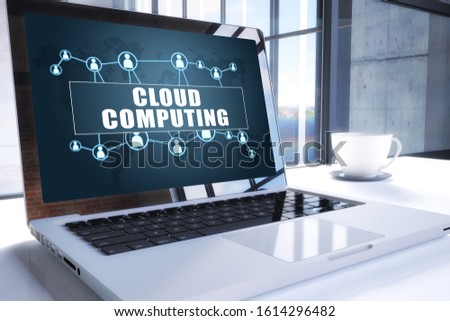 Cloud Computing text on modern laptop screen in office environment. 3D render illustration business text concept. stock photo