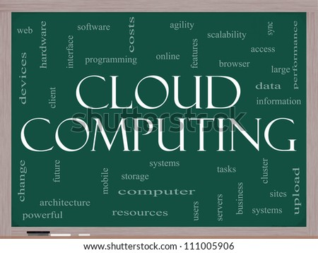 Cloud Computing Word Cloud Concept on a Blackboard with great terms such as data, information, storage, sync, access, servers and more