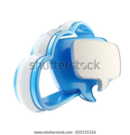 Cloud conversation share talk blue icon isolated on white