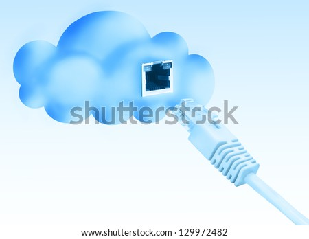 Cloud data base concept. Client device connecting with LAN cable