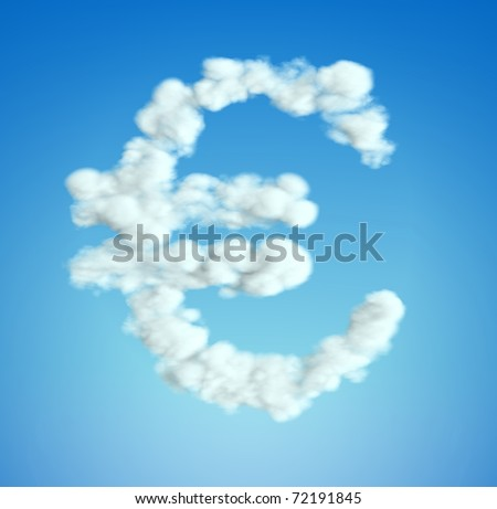 Cloud Euro currency symbol shape over blue sky (Blurred composition)