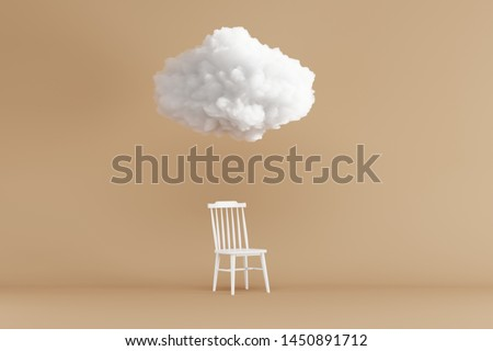Cloud Floating above white chair on brown background. Minimal idea concept. 3D render.