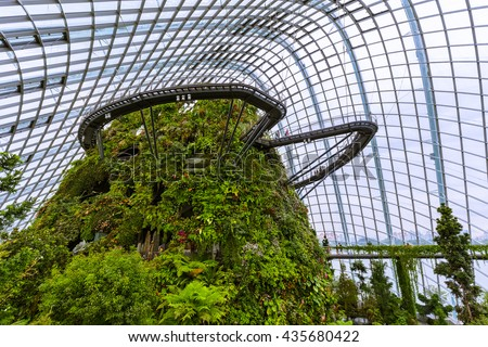 Cloud Forest Dome at Gardens by the Bay in Singapore - nature background