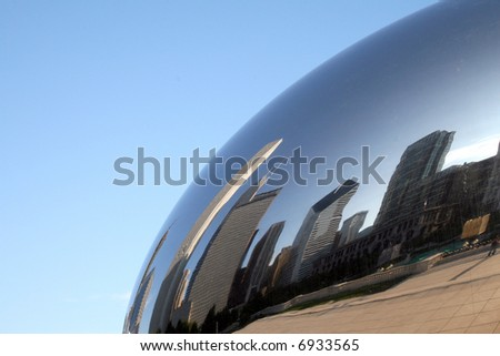 "Cloud Gate sculpture, known as ""The bean"", Millennium Park, Chicago, Illinois"