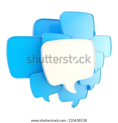 Cloud group of speech text bubbles blue composition as copyspace banner plate isolated on white