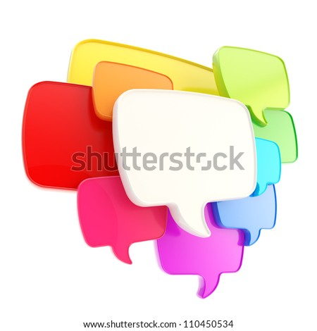Cloud group of speech text bubbles rainbow colored composition as copyspace banner plate isolated on white