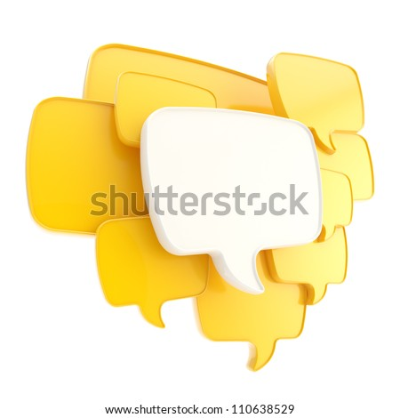 Cloud group of yellow speech text bubbles composition as copyspace banner plate isolated on white