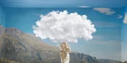 Cloud headed woman . Mixed media