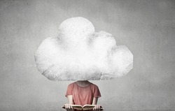 Cloud headed woman read book